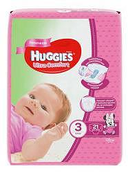 Хаггис ультра комфорт подгузники для девочек 3 (5-9кг) 21 шт.