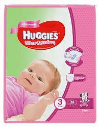 Хаггис ультра комфорт подгузники для девочек 3 (5-9кг) 94 шт.