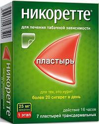 Никоретте 25мг/16ч 7 шт. пластырь трансдермальный