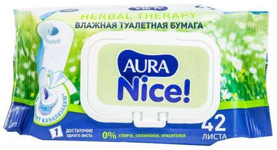 Аура найс бумага туалетная влажная с крышкой 42 шт., фото №1