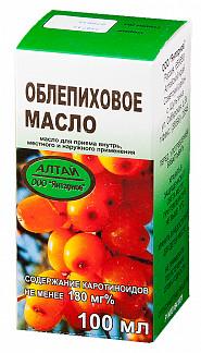 Облепиховое масло 100мл для приема внутрь, местного и наружного применения