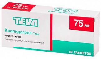 Клопидогрел-тева 75мг 28 шт. таблетки покрытые пленочной оболочкой