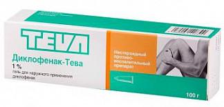Диклофенак-тева 1% 100г гель для наружного применения