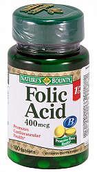 Нэйчес баунти таблетки 400мкг фолиевая кислота 100 шт.