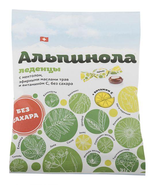 Альпинола леденцы без сахара ментол/травы/витамин с 75г, фото №1