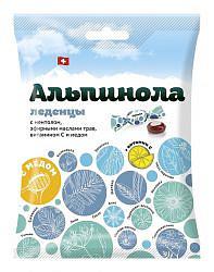 Альпинола леденцы без сахара ментол/травы/витамин с/мед 75г