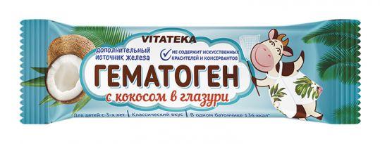 Витатека гематоген с кокосом в шоколадной глазури 40г, фото №1