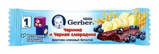 Гербер батончик фруктово-злаковый черника/черная смородина 12+ 25г