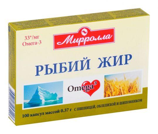 Мирролла рыбий жир капсулы пшеница/облепиха/шиповник 100 шт., фото №1