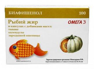 Рыбий жир биафишенол с маслом тыквы, календулы и зародышей пшеницы капсулы 100 шт.