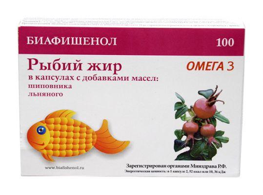 Рыбий жир биафишенол с маслом шиповника и льна капсулы 100 шт., фото №1