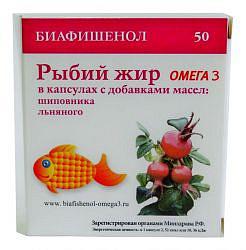 Рыбий жир биафишенол с маслом шиповника и льна капсулы 50 шт.