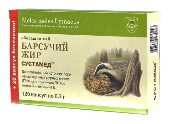 Сустамед медвежий жир обогащенный капсулы 0,3г 120 шт., фото №1