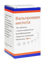 Вальпроевая кислота 300мг 100 шт. таблетки с пролонгированным высвобождением, покрытые пленочной оболочкой