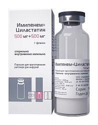 Имипенем и циластатин 500мг+500мг 1 шт. порошок для приготовления раствора для инфузий красфарма
