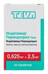 Индапамид-периндоприл-тева 0,625мг+2,5мг 30 шт. таблетки покрытые пленочной оболочкой