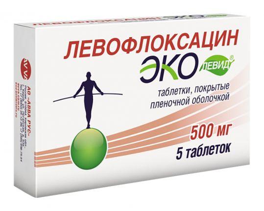 Левофлоксацин эколевид 500мг 5 шт. таблетки покрытые пленочной оболочкой, фото №1