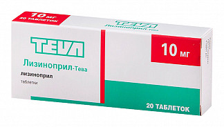 Лизиноприл-тева 10мг 20 шт. таблетки