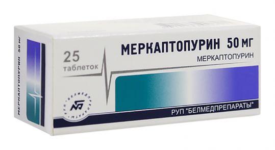 Меркаптопурин 50мг 25 шт. таблетки, фото №1