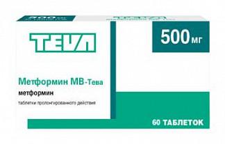Метформин мв-тева 500мг 60 шт. таблетки пролонгированного действия