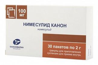 Нимесулид канон 100мг 30 шт. гранулы для приготовления суспензии для приема внутрь