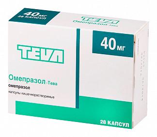 Омепразол-тева 40мг 28 шт. капсулы кишечнорастворимые
