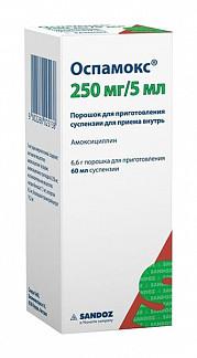 Оспамокс 250мг/5мл 6,6г (60мл) порошок для приготовления суспензии для приема внутрь