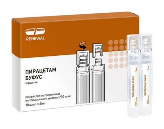 Пирацетам буфус 200мг/мл 5мл 10 шт. раствор для внутривенного и внутримышечного введения, фото №1