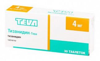 Тизанидин-тева 4мг 30 шт. таблетки тева фармацевтический завод прайвэт ко.лтд
