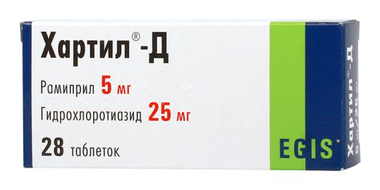 Хартил-д 5мг+25мг 28 шт. таблетки, фото №1
