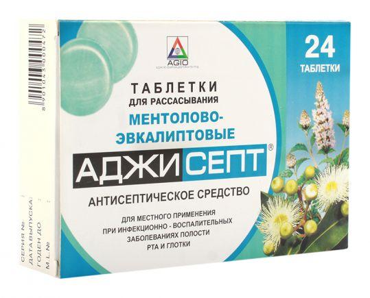 Аджисепт 24 шт. таблетки для рассасывания ментол-эвкалипт, фото №1
