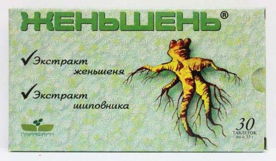 Женьшень 30 шт. таблетки парафарм витамер, фото №1