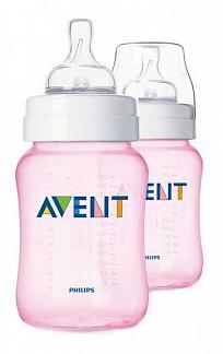 Авент классик бутылочка для кормления 81450 (scf684/27) розовая 260мл 2 шт.