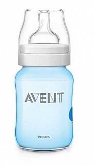 Авент классик бутылочка для кормления с соской медленный поток 81463 (scf623/17) голубая 260мл