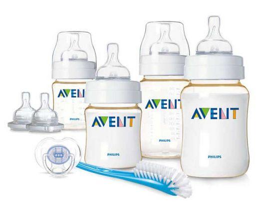 Авент классик набор для новорожденных 2 бут.125мл + 2 бут.260мл + 2 соски + пустышка + щеточка для мытья бут/сосок 86100 (scd270/00), фото №1