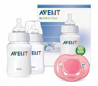 Авент набор (2 бутылочки 260мл + пустышка силиконовая ортодонтическая 6-18 месяцев)