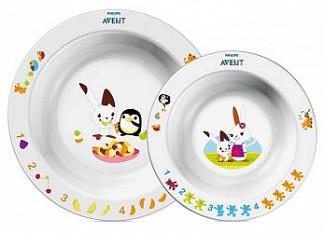 Авент набор глубокие тарелки для кормления большая и маленькая белые 65640 (scf708/00)