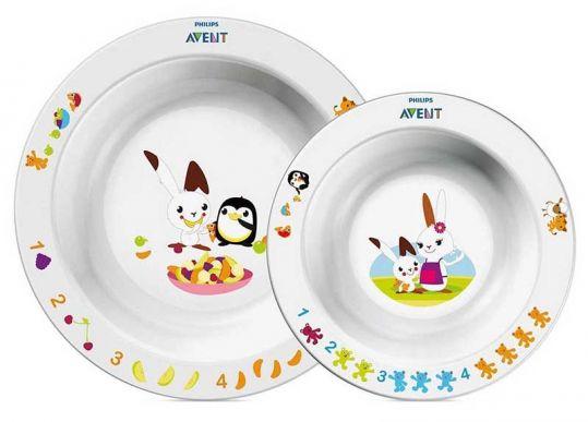 Авент набор глубокие тарелки для кормления большая и маленькая белые 65640 (scf708/00), фото №1