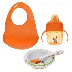 Авент набор для кормления слюнявчик + маленькая тарелка + ложка + чашка с носиком 200мл с 6 месяцев 65730 (scf730/00)