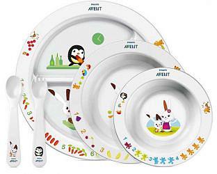 Авент набор тарелка с разделителями + глубокая тарелка большая + глубокая тарелка маленькая + ложка и вилка 65680 (scf716/00)