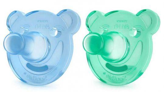 Авент пустышка силиконовая для мальчиков мишка 0-3 месяцев (scf194/01) 2 шт., фото №1