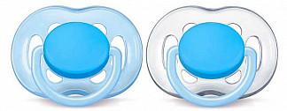 Авент пустышка силиконовая фри флоу 6-18 месяцев голубая scf 178/27 2 шт.