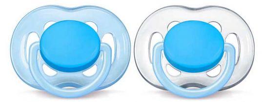 Авент пустышка силиконовая фри флоу 6-18 месяцев голубая scf 178/27 2 шт., фото №1