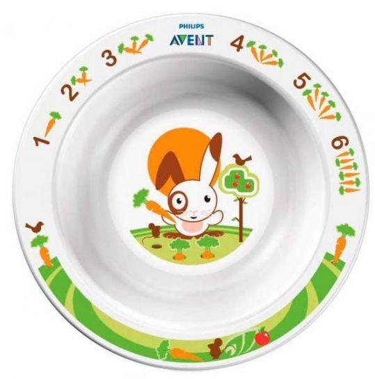 Авент тарелка для кормления глубокая маленькая с 6 месяцев 65630 (scf706/00) белая, фото №1