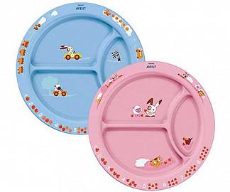 Авент тарелка для кормления с разделителем с 12 месяцев 65616 голубая и розовая