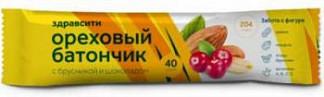 Здравсити батончик-мюсли орех с медом с витамином с 35г