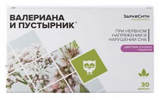 Здравсити комплекс экстрактов валерианы и пустырника капсулы 395мг 30 шт.