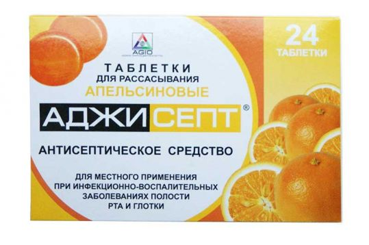 Аджисепт 24 шт. таблетки для рассасывания апельсин, фото №1