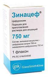 Зинацеф 750мг 1 шт. порошок для приготовления раствора для инъекций glaxosmithkline manufacturing s.p.a.