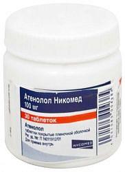 Атенолол никомед 100мг 30 шт. таблетки покрытые пленочной оболочкой